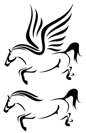 equine: horses black and white vector outline - jumping stallion and flying pegasus