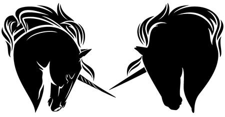 ユニコーン ヘッド黒と白のベクトルのデザイン