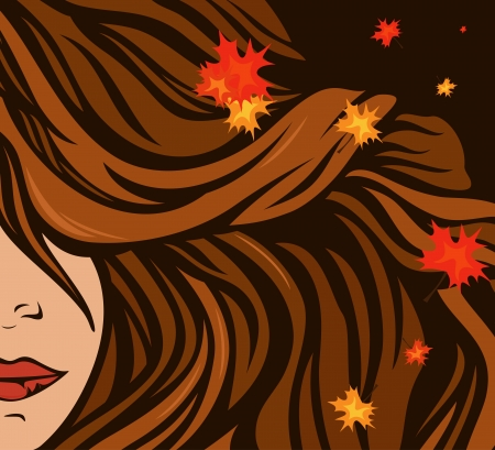 autumn hair with maple leaves - beauty background Stock Vector - 21937675