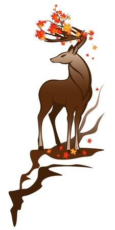 jachere: cerf d'automne avec des branches d'�rable entre les cornes Illustration