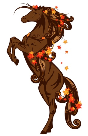 autumn fairy tale horse rearing up with maple leaves Vector