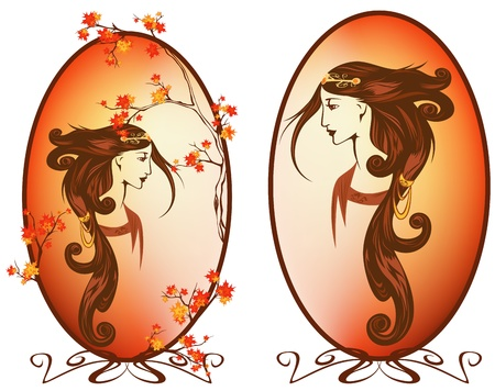 art nouveau style autumn season woman with long beautiful hair portrait Vector