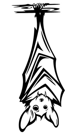 bat animal: cute bat hanging on tree branch - black and white halloween character