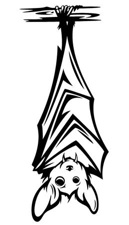 leuke knuppel opknoping op boomtak - zwart-wit Halloween karakter