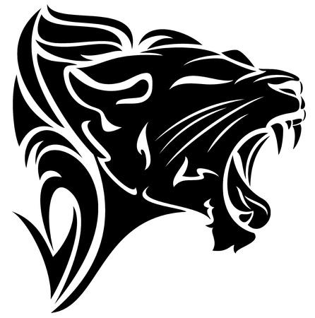 dessin tribal: roaring lion noir et blanc conception tribale Illustration