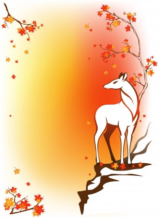 fallow deer: autumn forest background with deer standing among bright maple leaves