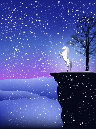 fairy tale winter postcard with white unicorn horse in snowfall Vector