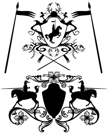 knights heraldic design elements - black and white easy editable vector silhouettes Vetores