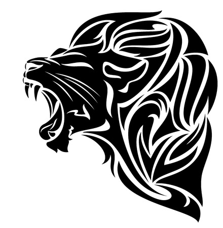 white lion: furious lion black and white vector outline - tribal design
