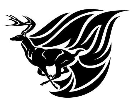black buck: running deer tribal style black and white vector design