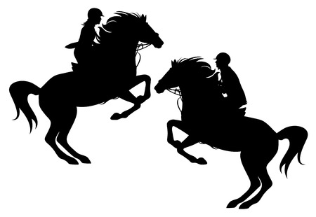 rearing:  two horsemen detailed vector silhouettes - man and woman