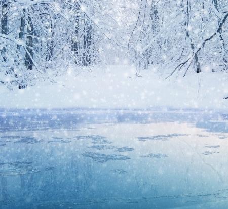 winter in het bos - meer en de besneeuwde weg Stockfoto