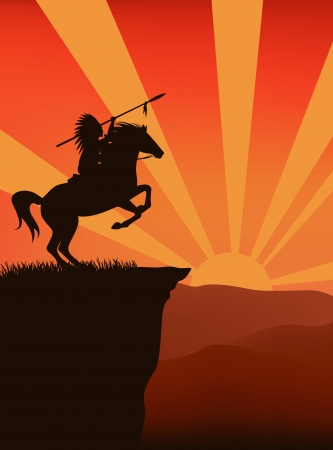 horse warrior: native american on the cliff - wild west background Illustration