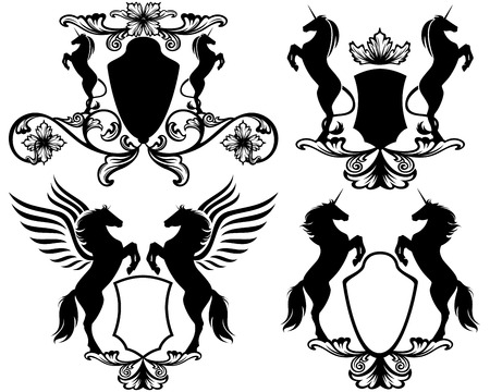 set of heraldic shields with rearing up magic horses  - pegasus and unicorns  easy editable collection  Vector
