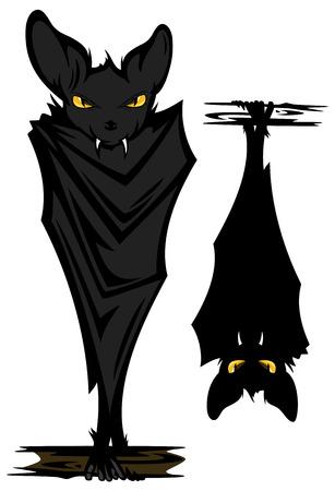 murcielago: murciélagos malvados divertidos con los ojos amarillos - Halloween carácter temático Vectores