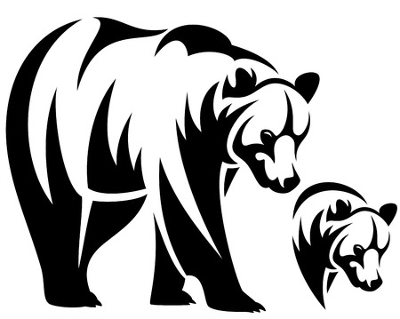 grizzly: walking bear and animal head black and white  outline emblem