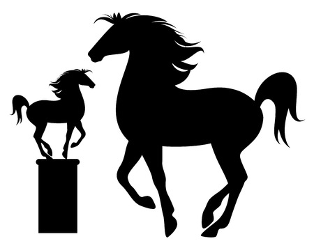 stately:  prancing horse black vector silhouette - detailed outline over white