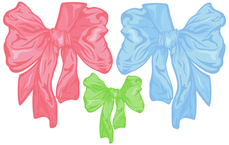 Its a girl and Its a boy children bows - pink, blue and green design with corner ribbon Vector