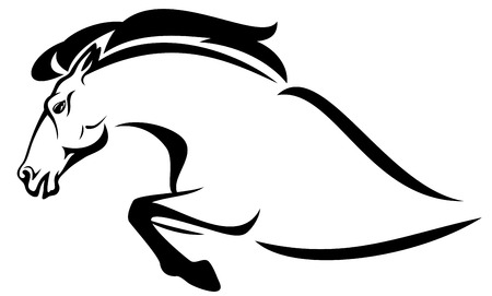 horse jumping: jumping horse profile - black and white vector outline