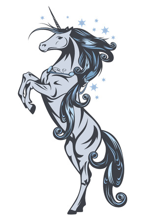 fairy vector:  winter fairy tale unicorn horse among snow flakes vector illustration