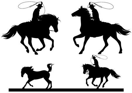 caballo vaquero vector siluetas finas - jinetes negros sobre blanco