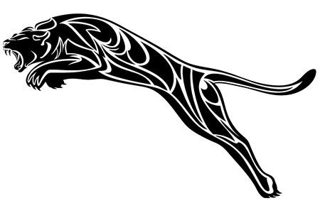 tribales: furioso salto de pantera - ilustración vectorial blanco y negro
