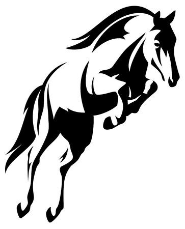 caballos negros: hermoso caballo de salto de vector blanco y negro contorno