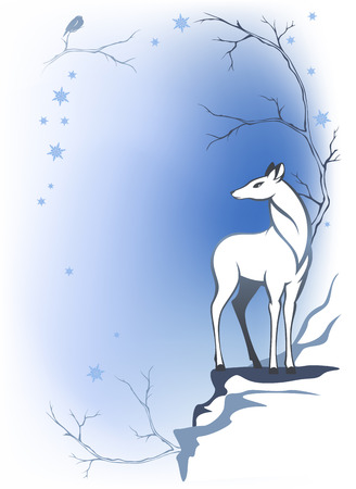 fallow deer:  winter forest background with deer - wildlife in the woods Illustration