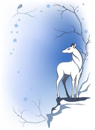 damhirsch: Winter-Wald-Hintergrund mit Hirsch - Tierwelt in den W�ldern