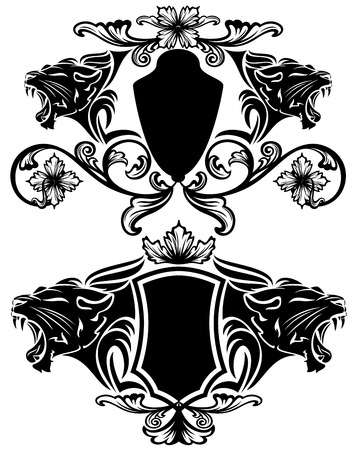 lioness: roaring panther heraldic emblems - black animal heads and fine decorative shields