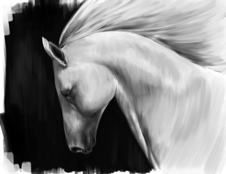arabian horse:  digital art imitation of oil painting - running white horse against black background