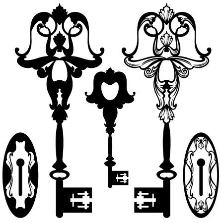 keyhole: antique skeleton key and keyhole black and white ornate vector design