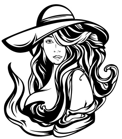 Art Nouveau style woman with gourgeous hair wearing wide-brimmed hat