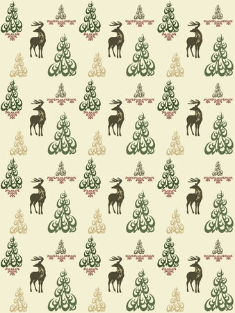 fir trees:  seamless vintage style pattern with christmas deers and trees - Xmas concept