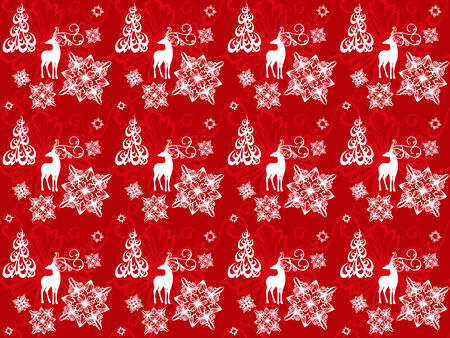 seamless pattern with christmas deers, snowflakes and trees Stock Vector - 24189600