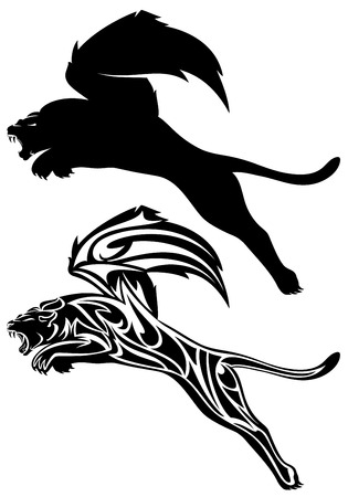 lioness:  winged fantasy lion design - jumping or flying mythical animal silhouette and outline