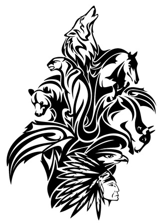 Native American chief with animal spirits design - black and white tribal composition Vectores