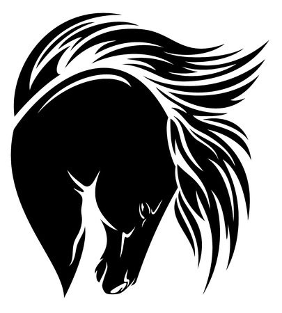 pedigreed:  black horse head with long mane vector design