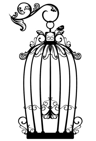 black bird: vintage looking open birdcage with a free bird - black and white decorative outline