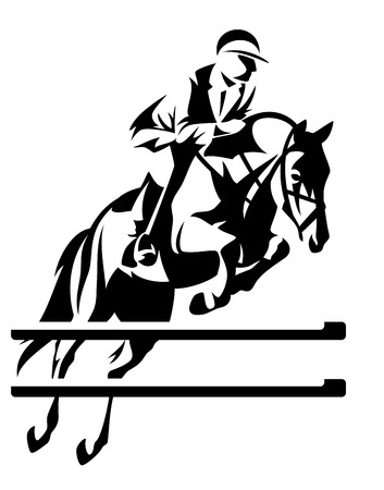 uomo a cavallo: salto ostacoli disegno vettoriale cavaliere - in bianco e nero emblema sport equestre