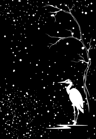 winter vector background with white heron bird under snowfall against black Stock Vector - 24625945