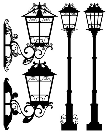 antique street light silhouettes and detailed black and white vector outlines