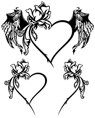 black в white: Valentine s Day design elements vector set - black and white winged roses and hearts