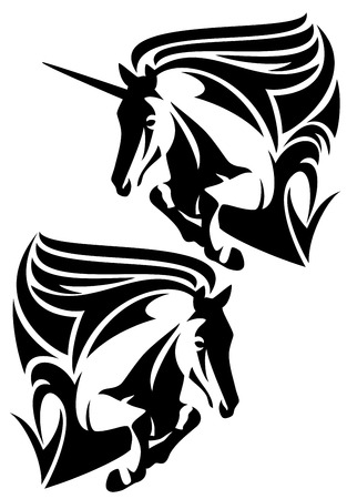 jumping horse and unicorn black and white vector design Vector