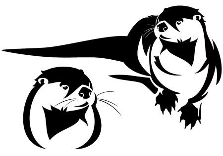 vertebrate:  cute otter black and white vector illustration