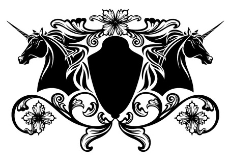 Horses:  unicorn horses heraldic emblem - black and white vector design Illustration