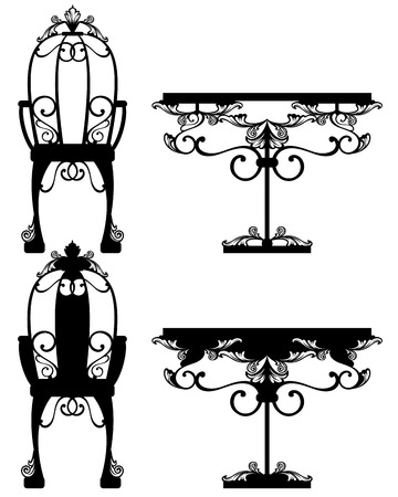 antique furniture silhouettes and detailed black and white vector outlines Vector