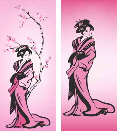 Spring season Japanese geisha decoration - sakura tree blossom