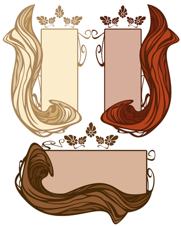 art nouveau style hair banners with frame - blond, brown and red hair locks with frames Vector
