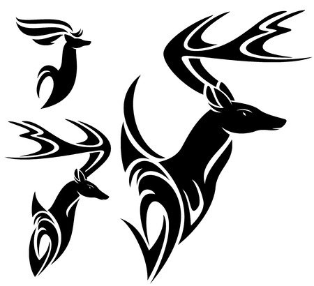 deer head black and white vector design set Vector